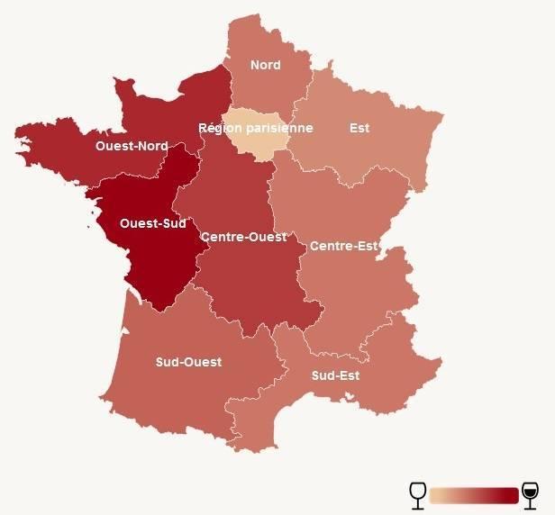 volume vente vin region