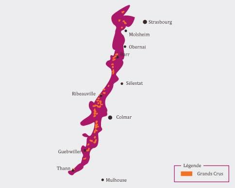 Carte route des vins vignoble d'Alsace