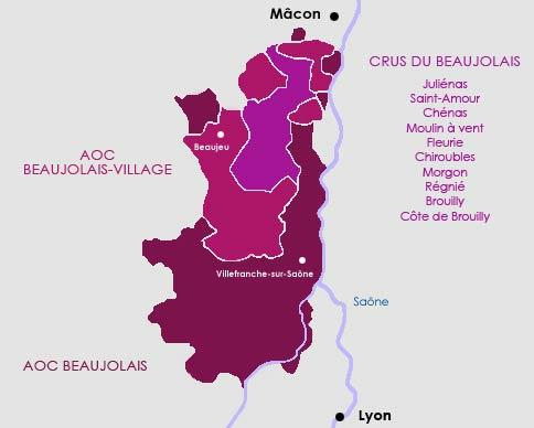 Carte route des vins du vignoble du Beaujolais