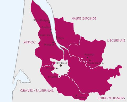 Carte route des vins du vignoble de Bordeaux