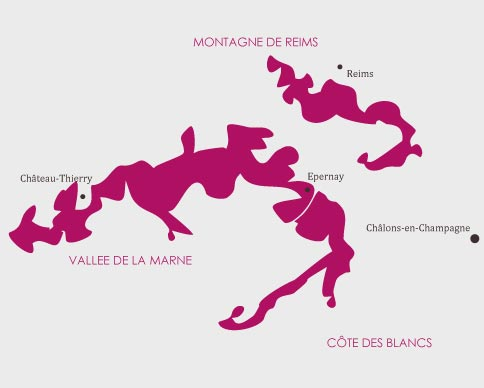 Carte route des vins vigne de Champagne