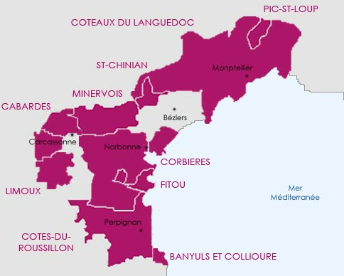 Carte route des vins du vignoble du Languedoc-Roussillon