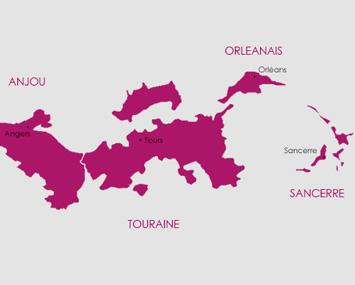 Carte route des vins vignoble du Val de Loire
