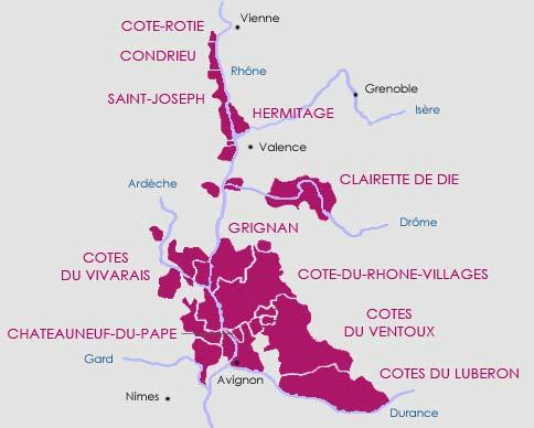 Carte route des vins vignoble de la Vallée du Rhône